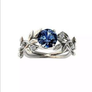 Stunning Aquamarine Blue Leaf Elegant Ring 3 Sizes